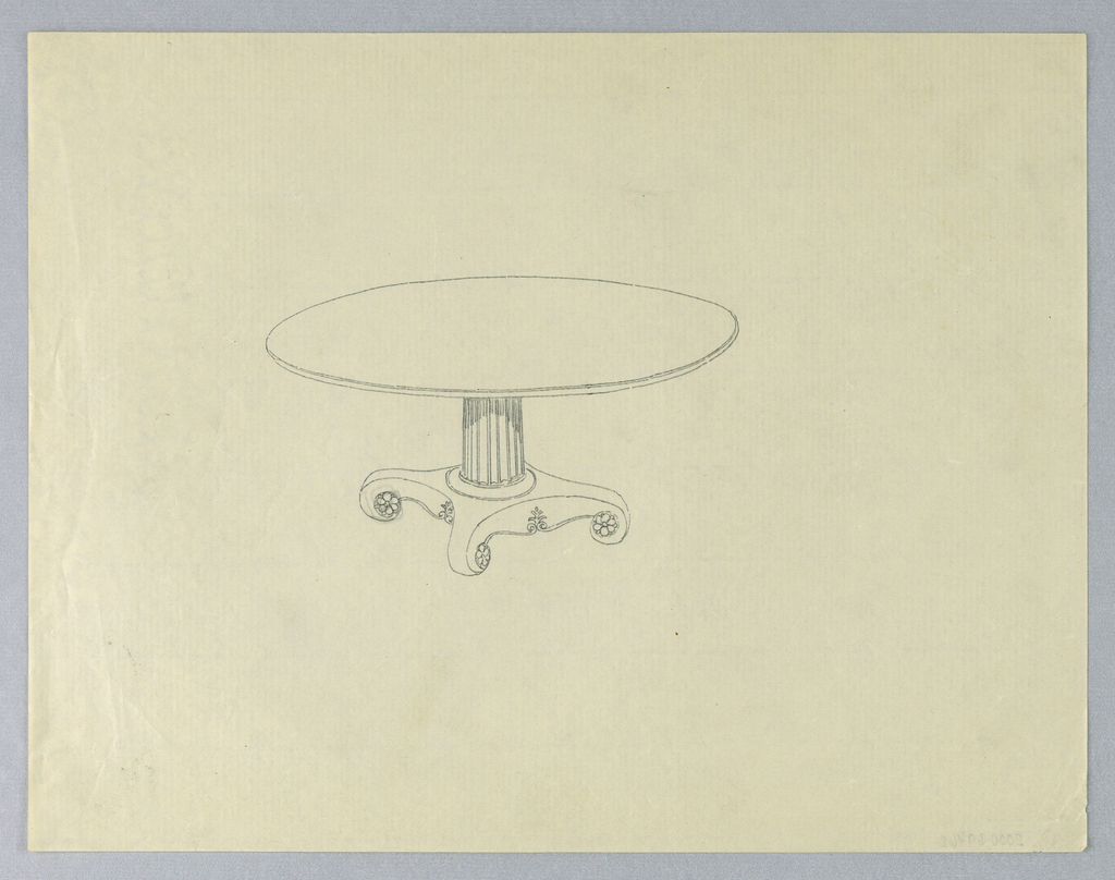 """Round molded table top raised on fluted and molded columnar support with concentric moldings at bottom, sitting atop """"X""""-shaped base terminating in 4 [3 shown] scroll-like feet with carved floral rosettes."""