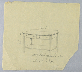 Drawing, Design for Serving Table with Two Drawers and Convex Front