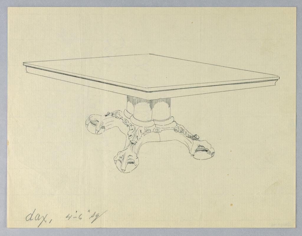 Rectangular molded table top raised on support of  4 [3 shown] clustered columns sitting atop a molded and carved base terminating in carved ball-and-claw feet.