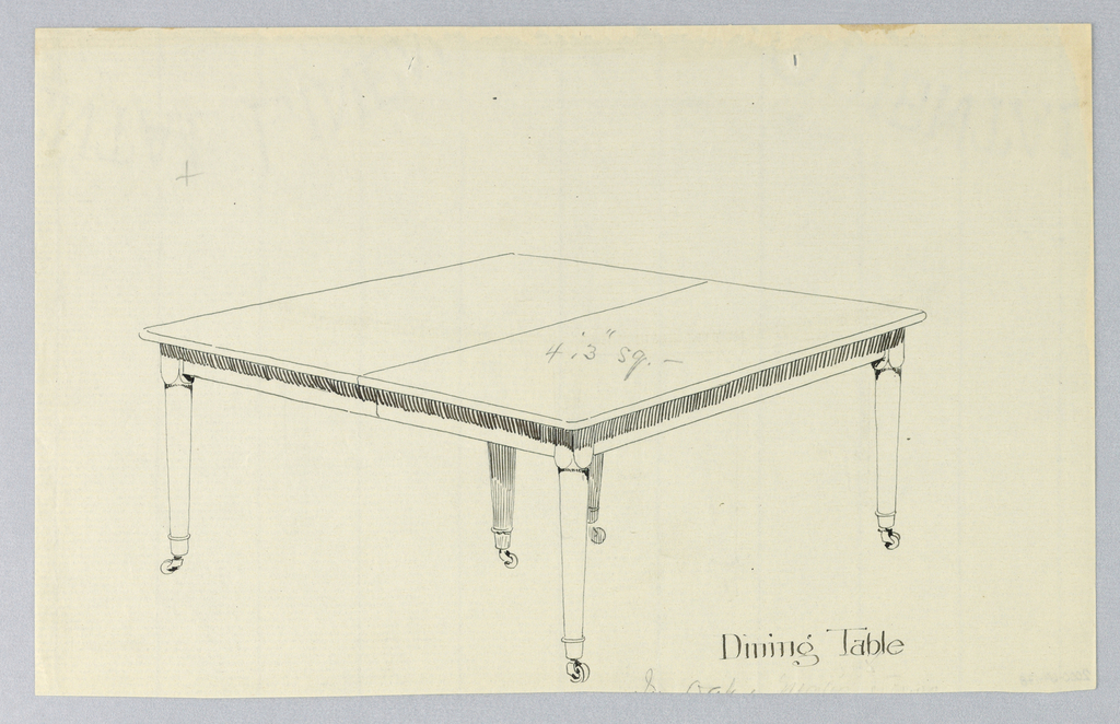 Drawing, Design for Six-Legged Rectangular Dining Table