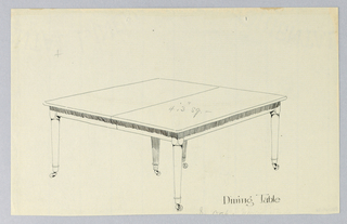 Rectangular table top with dividing stretcher running across center, raised on 6 [5  shown] plain, straight, tapering legs on cup casters; legs clustered in pairs, one pair on either side and one pair center.
