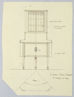Elevation: tall cabinet raised on 3 straight tapering legs; closed cupboard with inlaid patera medallion topped by tall cupboard  with glass doors.  Plan: triangular shape of cabinet shown; slightly slanted corners.