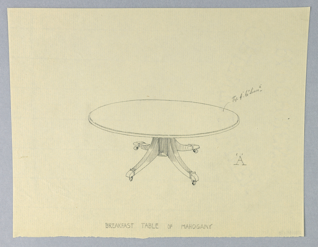 Round molded top raised on cylindrical base supported by 4 splayed legs on brass feet with casters.
