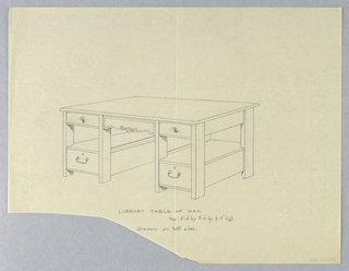 Drawing, Design for Massive Library Table of Oak, 1900–05