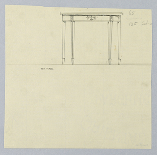 Drawing, Design for Rectangular Card Table with Carved Decoration on Border