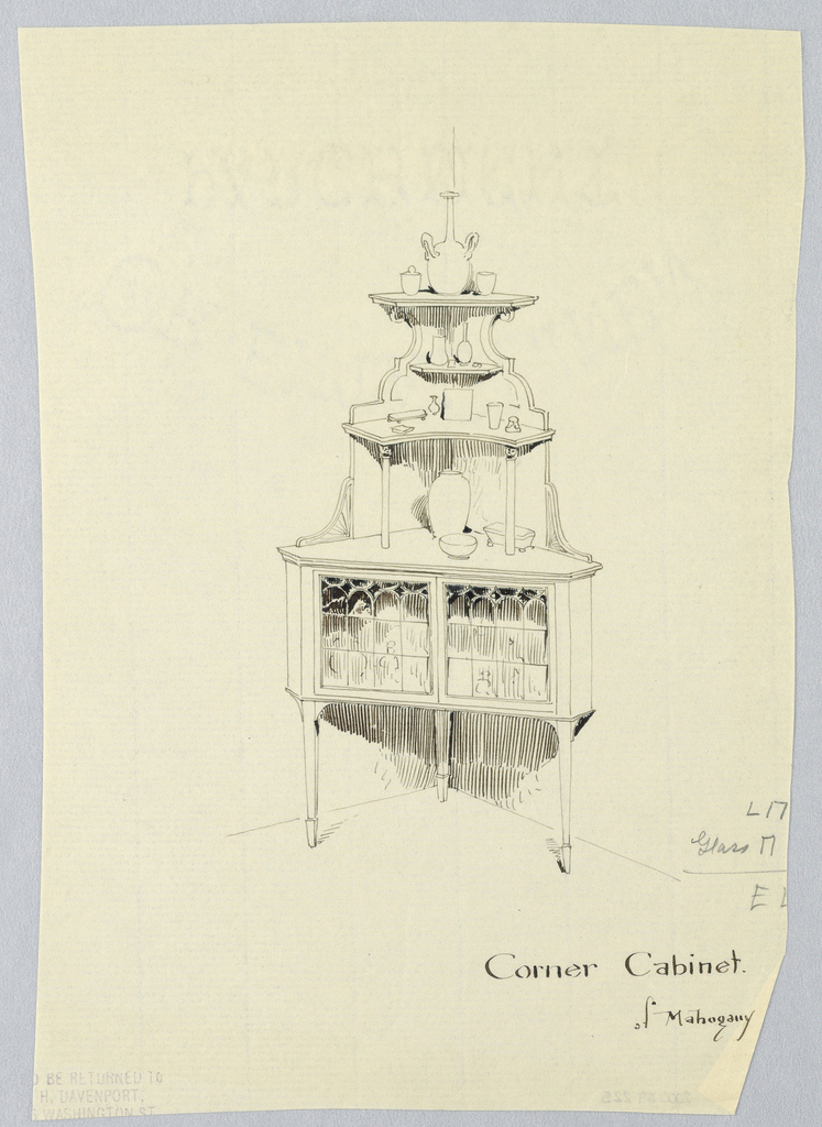 Triangular lower body with 2 glass doors front; raised on 3 tapering legs; elaborately carved backsplash with 3 attaching shelves, the lower one raised on 2 free-standing columnar supports; most shelves hold pieces of china.