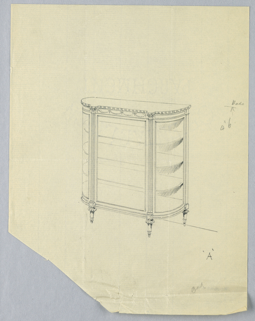 Rectangular cabinet with molded top and open front, raised on 4 carved, molded, short, tapering legs; three inside shelves, partly hidden behind curtain at right; potted plant atop cabinet.