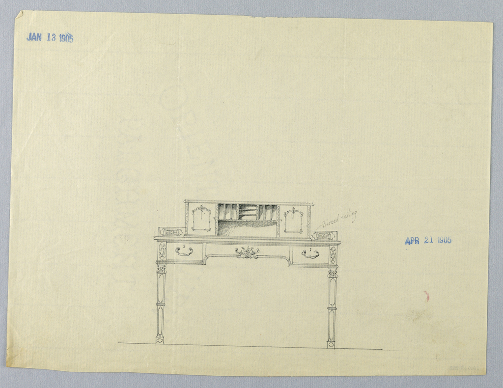Drawing, Design for for Ornate Writing Table with Pierced Railing