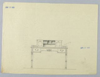 Drawing, Design for for Ornate Writing Table with Pierced Railing, January 13, 1905