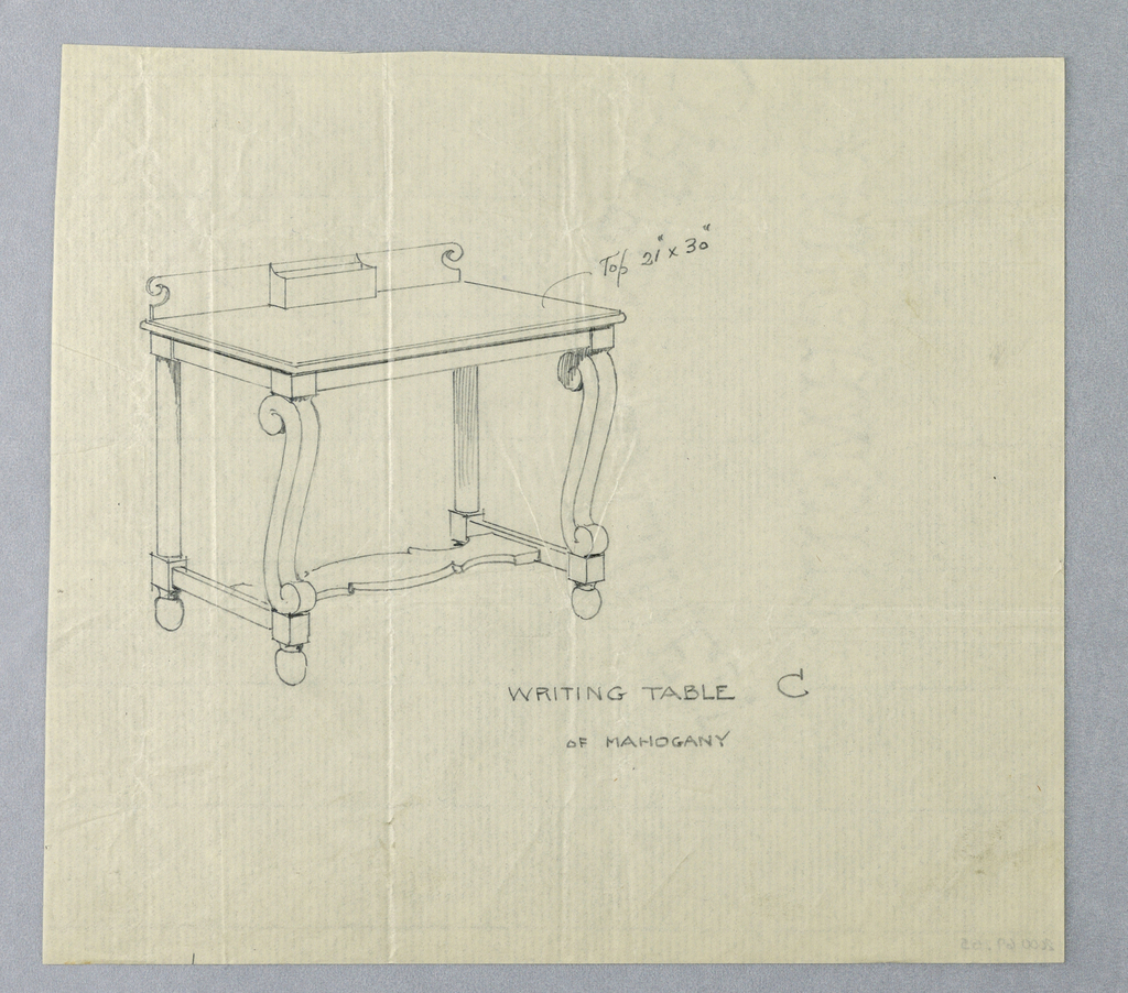 """Drawing, Design for Writing Table """"C"""" with Scrolled Front Legs"""