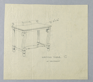 "Drawing, Design for Writing Table ""C"" with Scrolled Front Legs, 1900–05"