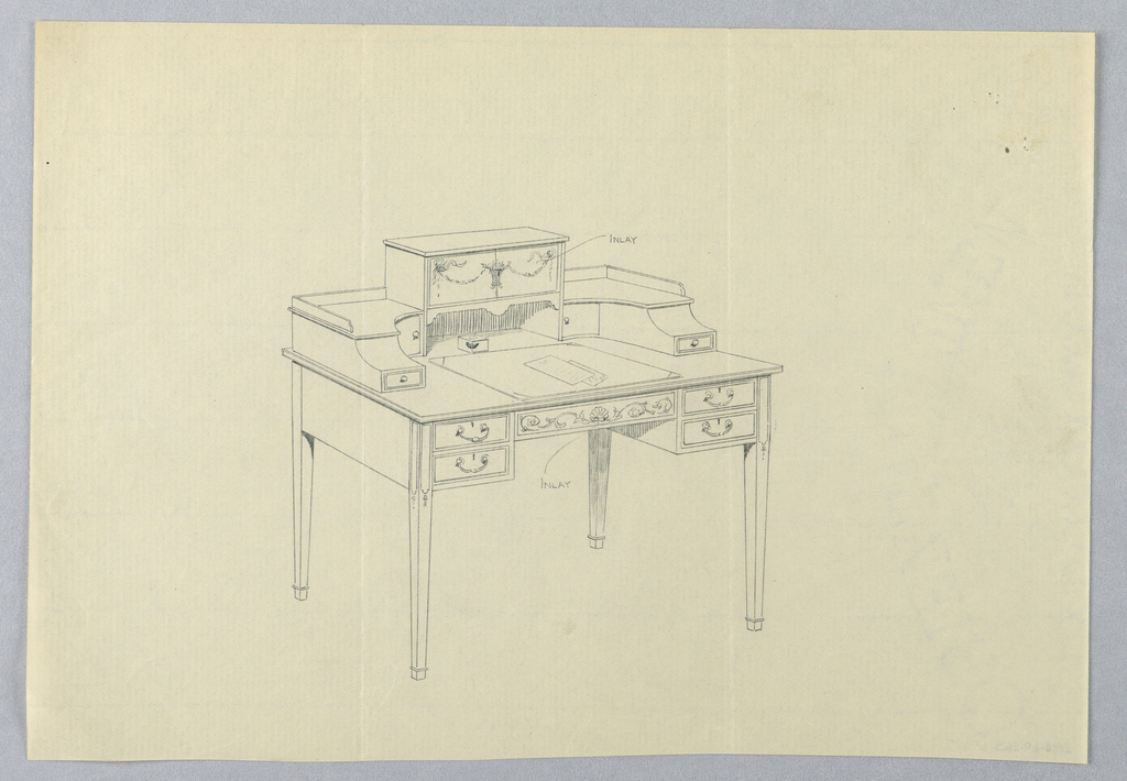 Drawing, Design for Ornate, Three-Tiered, Rectangular Writing Table