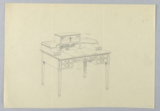 Drawing, Design for Ornate, Three-Tiered, Rectangular Writing Table, 1900–05