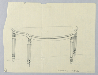 "Drawing, Design for Semi-circular Console Table ""B"""