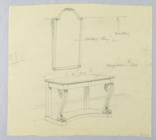 Drawing, Design for Recangular Mahogany Console Table with Mirror Above