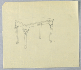 Drawing, Design for Recangular Card Table with Decorative Carving at Tops of Legs