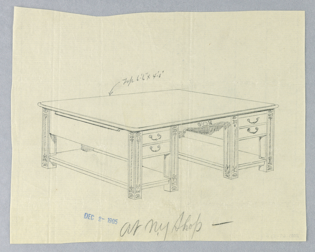 Drawing, Design for Massive Library Table with Two Stretcher Shelves