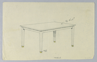 Rectangular molded table top is raised on four plain tapering legs with brass sabots indicated in yellow color pencil.