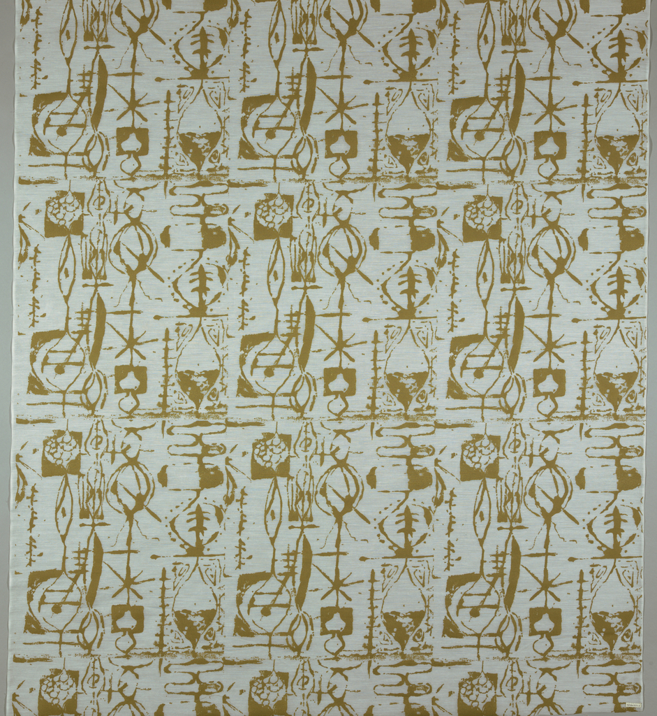 White Dacron with a stiff texture printed in a buff color showing a design of abstract, linear and vertical shapes suggesting hourglasses. Pigment is thick like paint and does not come through to the reverse.