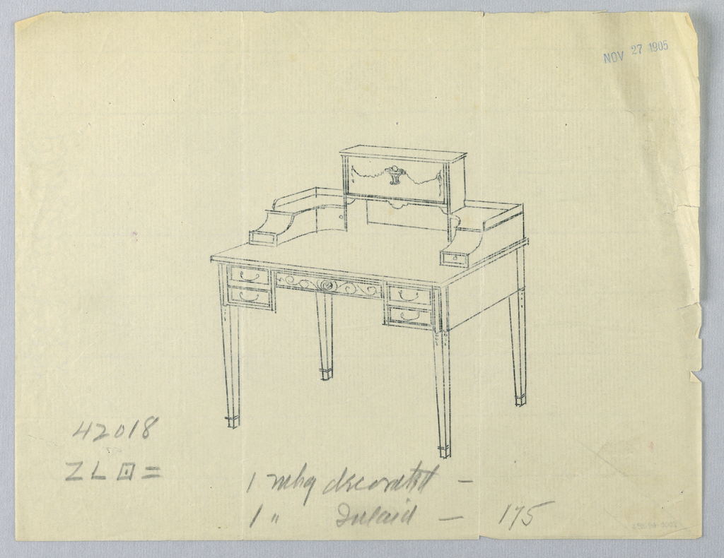 Drawing, Tracing of Design for Three-Tiered Writing Table #42018