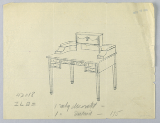 Drawing, Tracing of Design for Three-Tiered Writing Table #42018, 1900–05