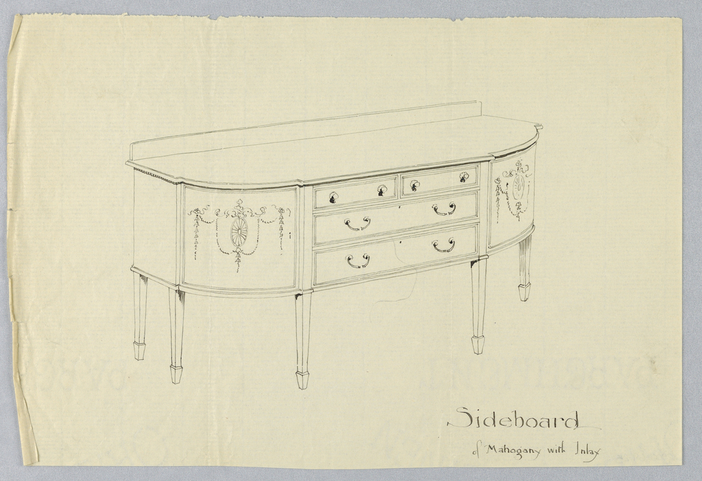 Drawing, Design for Mahogany Inlay Sideboard with Neo-Classical Motifs