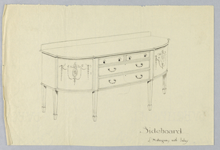 "Rectangular sideboard on six tapering legs (5 shown) with rounded front corners decorated with oval patera medallions, scrolls, and bellflower garlands; in flat central portion of front, two large horizontal drawers with a pair of ""C""-shaped handles each, topped by two smaller drawers; low backsplash."