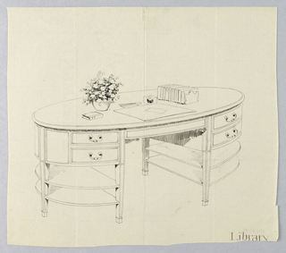 Drawing, Design for Oval Library Table with Four Open Semi-Circular Shelves, 1900–05