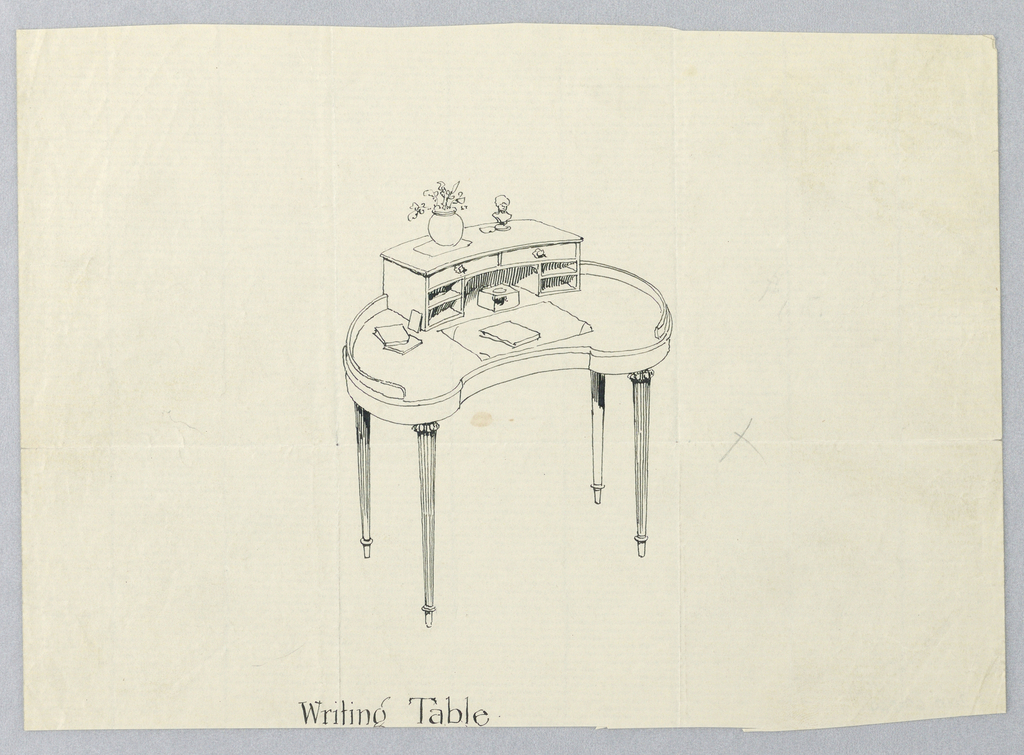 Drawing, Design for Kidney-Shaped Writing Table with Vase of Flowers and Bust