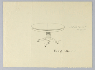 Round molded top with dividing stretcher running across center suggested in graphite, raised on fluted columnar support with molded double band around bottom, sitting atop octagonal base terminating in 4 splayed legs with brass feet on casters.