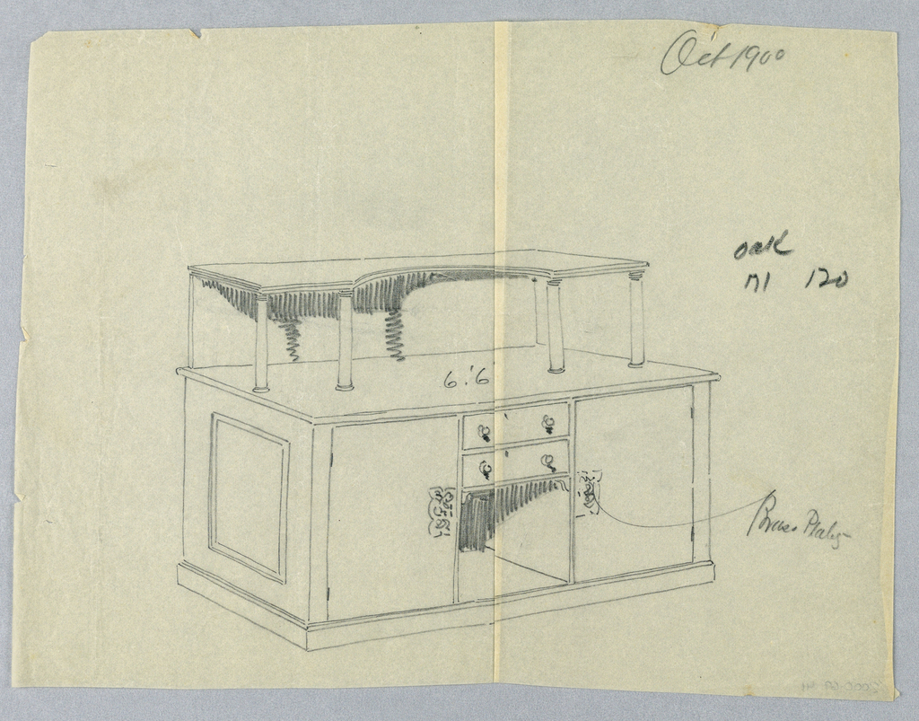 Massive rectangular sideboard on low platform; niche topped by 2 drawers center front is flanked by 2 drawers decorated with rectangular escutcheons; oblong top shelf with concave cut-out at center front supported by raised backsplash and 4 columns.
