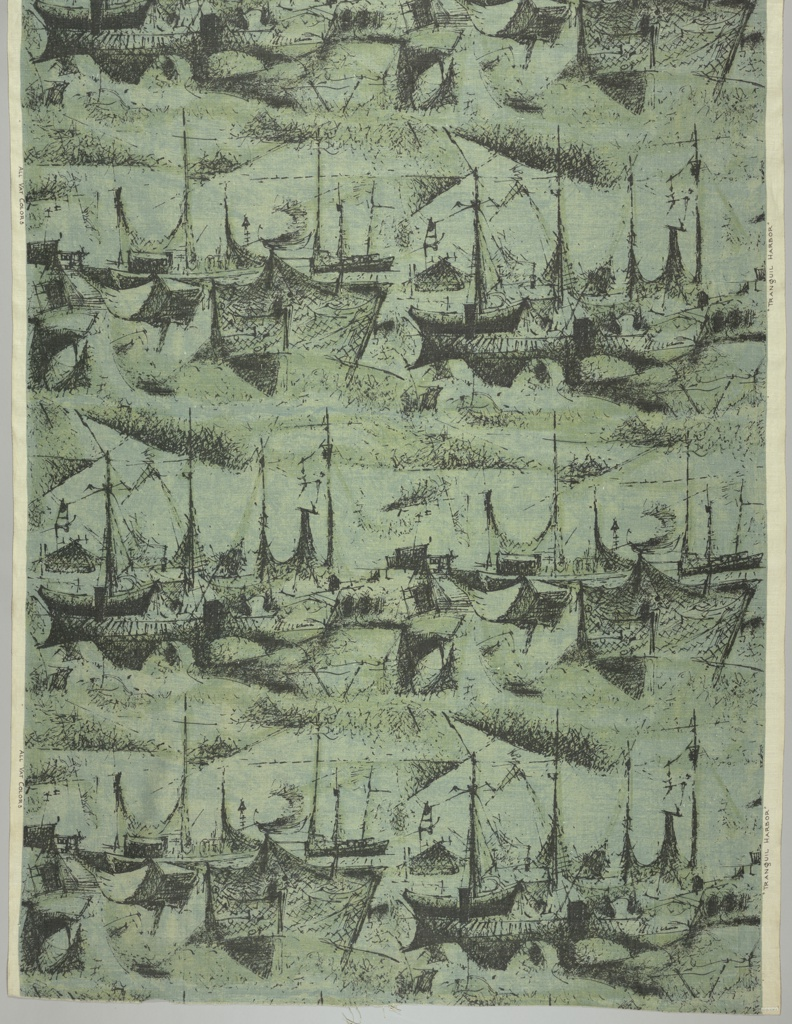 Harbor-scape in black etched effect on shaded blue-green ground.