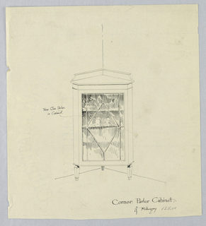 Triangular-shaped cabinet with canted corners; raised on 3 short, tapering legs; glass front door and 3 inside shelves; pieces of china suggested on shelves inside cabinet; backsplash.