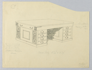 Drawing, Design for Massive Desk with Eight Front Drawers; Plus Small Sketch of Rear View, 1900–05