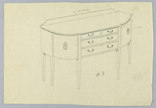 Sideboard on six straight tapered legs; rounded front edges each with medallion motif; four rectangular drawings in central section with C-shaped handles and keyholes; low backsplash at back of top.