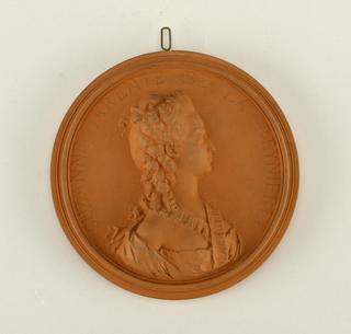 reproduction portrait medallion of Mme Suzanna Jarente de la Reyinere, Mother of Grimod de la Reyniere (Alexandre-Balthazar-Laurent), writer and epicure.