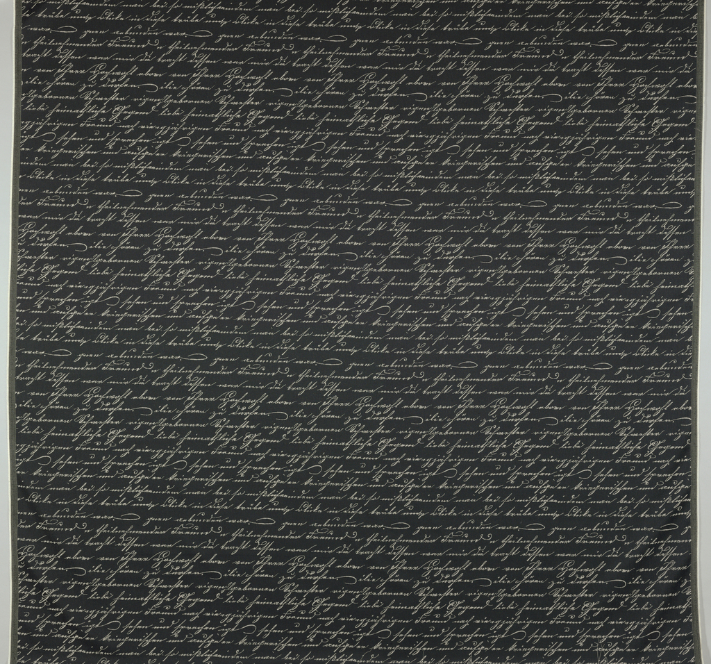 Rows of off-white script on black ground.