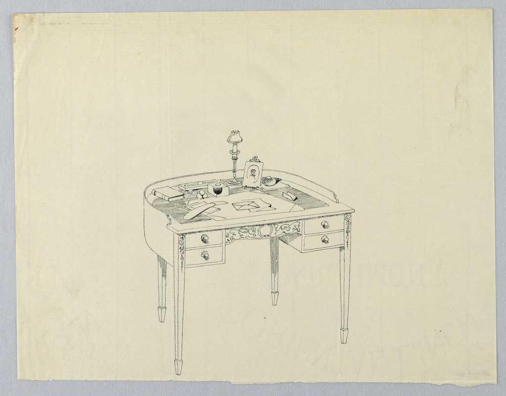 Drawing, Design for Semi-Circular Writing Table with Four Drawers and Small Lamp Atop