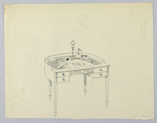 Drawing, Design for Semi-Circular Writing Table with Four Drawers and Small Lamp Atop, 1900–05