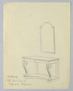 Drawing, Design for Recangular Console Table with Volute Supports and Mirror Atop