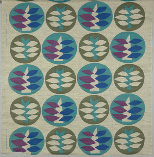 Loosely woven cream-colored ground showing a bold pattern of rows of large circles. Circles are turquoise with bright blue, magenta and off-white abstract leaf shapes; and olive green containing turquoise and off-white.