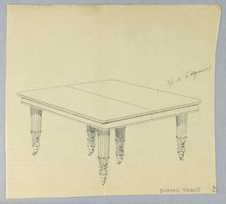 Rectangular molded and beaded table top with a dividing stretcher running across center is raised on six fluted tapering legs on casters decorated with carved water-leaf motifs at bottom.