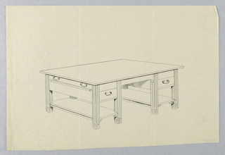Drawing, Design for Massive Library Table with Square Legs and Side Pull-Out Shelf, 1900–05