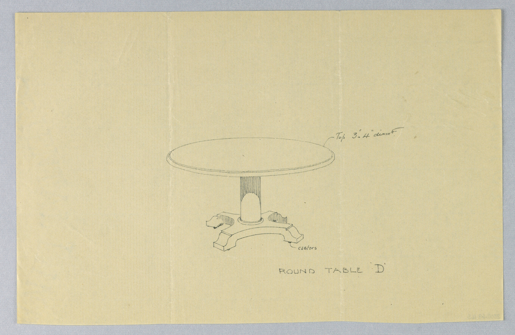 """Drawing, Design for Round Table """"D"""""""