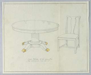 Round molded taqble raised on column-like support sitting on molded octagonal base with four splayed legs with brass feet on casters.  To the right of the table design, a chair with a trapezoidal seat and a vase splat has straight side rails extending into raked back legs; front legs are straight.  On the sides, legs are joined by stretchers; a single stretcher attaches horizontally across center.