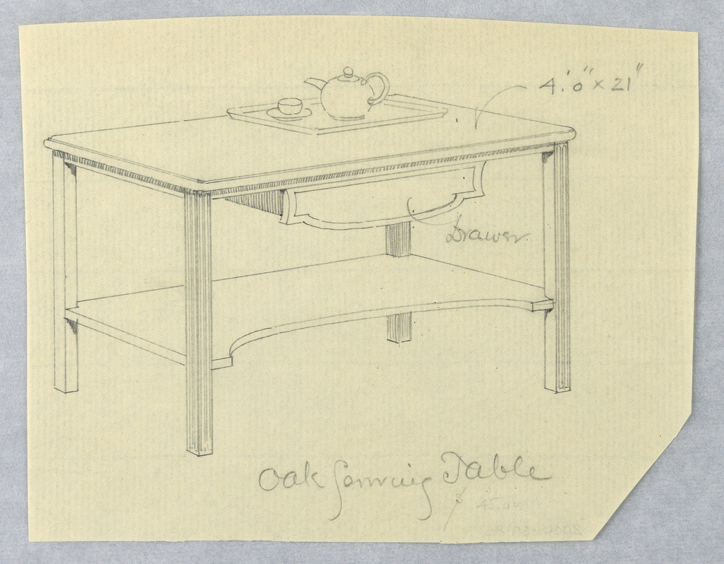 Rectangular body with molded edges and molded drawer attached beneath; raised on 4 reeded  straight rectangular legs; oblong lower shelf with demi-lune cut-out front center attaches mid-way up from floor level; on table top, tray with teapot and cup and saucer.