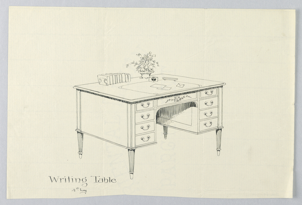 Drawing, Design for Rectangular Writing Table with Eight Drawers