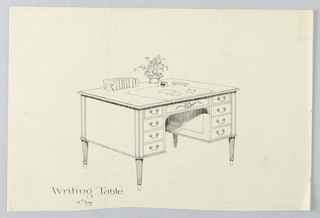 Drawing, Design for Rectangular Writing Table with Eight Drawers, 1900–05