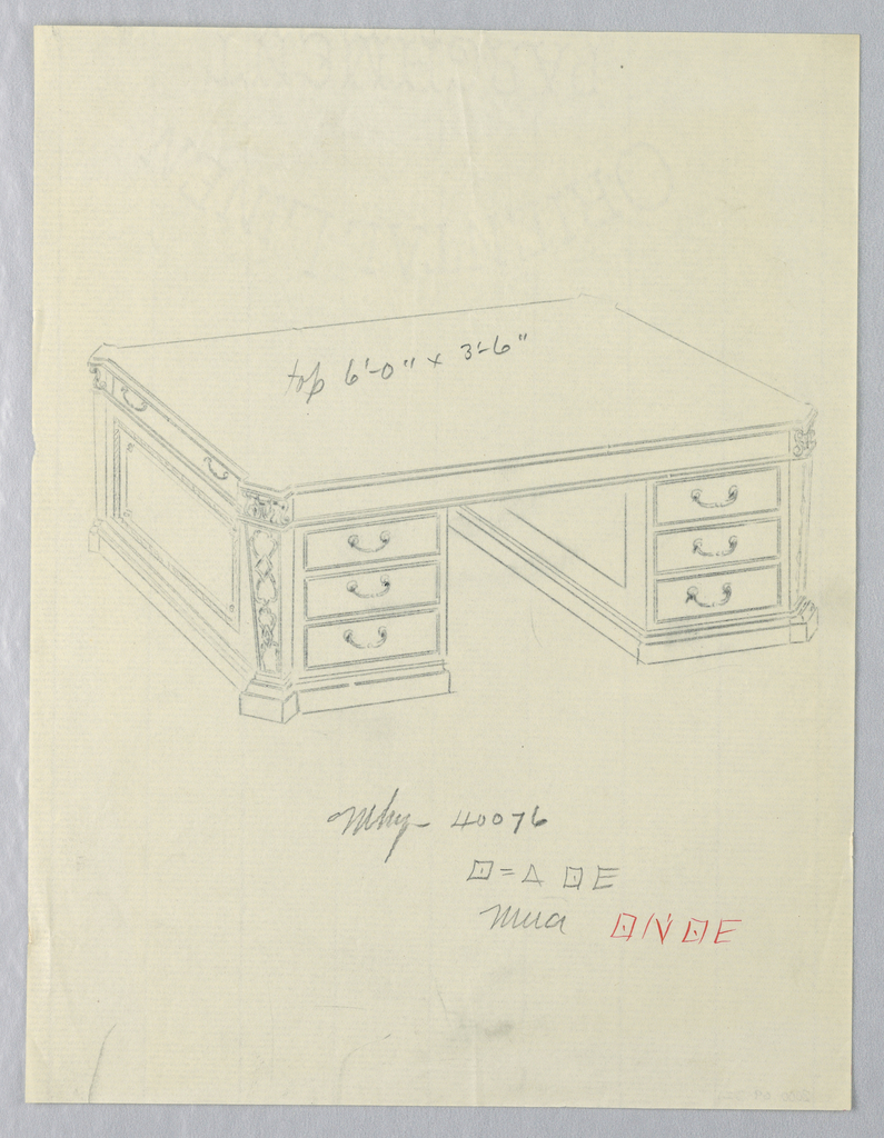 Drawing, Design for Massive Library Table with Squared Pilasters at Corners
