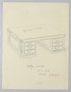Drawing, Design for Massive Library Table with Squared Pilasters at Corners, 1900–05